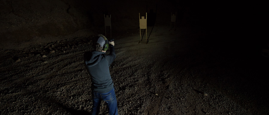Surefire XC1. 7 Yards. IPSC target. Aiming at heart area. The illumination on me is from truck headlights, but the target is in shadow.