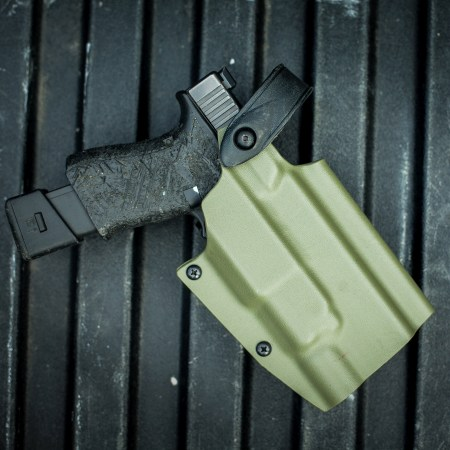Ranger Green Titan made for Glocks with the X300 Series. Hood deployed.